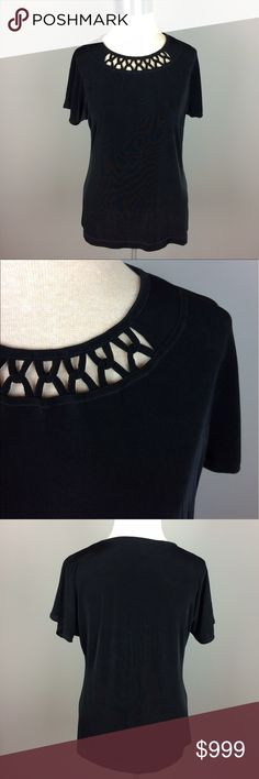 Travelers by Chico's black short sleeve top Condition: Preowned, no holes or stains. Normal wear from washing and wearing  Color:   Measurements: Size 1 Underarm to underarm is approximately  20 inches across.  Length from back of neck to bottom of hem is approximately 24 inches.   Materials: 95% acetate, 5% spandex Chico's Tops