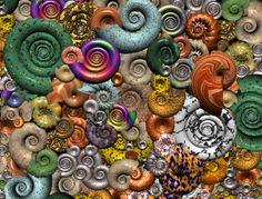 buntschneckenhaufen  spiralen und textur mit Bryce 5 erstellt und gerendert