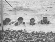Tsar Nicholas II and his children at the beach.