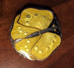Art-Deco-Sterling-Silver-Compact-Enamel-Butterfly