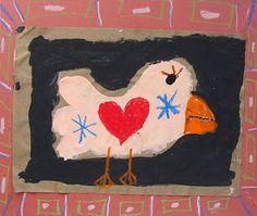 Folk Art Bird - Art Projects for Kids First Grade Art, Creative Activities For Kids, Folk, Art Corner, Found Art, Feather Art, Preschool Art, Kindergarten Art, Country Art