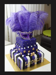 21st Masquerade Theme Cake by Not Just Cakes, via Flickr