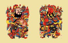 Worshipping Door Gods is an important custom among the Chinese during Spring Festival, the Lunar New Year. Chinese Contemporary Art, Modern Art, New Year Art, New Year Pictures, Japan Illustration, Spring Festival, Chinese Zodiac, Ancient China, Chinese Culture