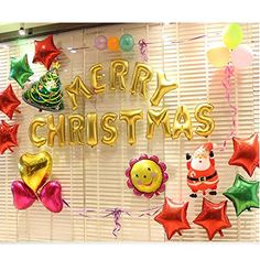 Merry Christmas Aluminum Balloon Set Balloon Banner Celebration Balloon  Helium Balloon for Wedding Party Decoration ** Read more at the image link. (This is an affiliate link)