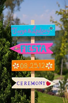 Paint plain wooden signs in bright colors to guide guests around your event.  As seen on weddingchicks.com