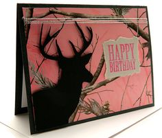 Birthday Card Greeting Cards Pink Camouflage Deer by DesignsByCnC