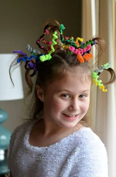 image result for crazy hair day with pipe cleaners  hair