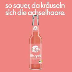 so sauer, da kräuseln sich die axelhaare. Fritz Kola. Fritz Cola, Ads, Drinks, Bottle, Sticker, Flasks, Advertising, Poster, Drinking