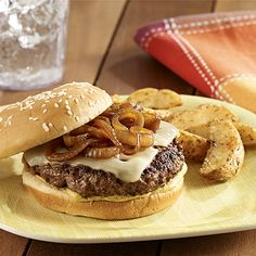 Beer Braised Onion Burgers Ingredients      1 tablespoon Pure Wesson® Canola Oil     2 cups thinly sliced sweet onion     1/4 teaspoon salt     3/4 cup beer     1-1/4 pounds ground round beef (85% lean)     2 tablespoons La Choy® Lite Soy Sauce     1/4 teaspoon ground black pepper     4 slices (1 oz each) Swiss cheese     8 teaspoons Gulden's® Spicy Brown Mustard     4 hamburger buns with sesame seeds, toasted  - See more at: http://www.readyseteat.com