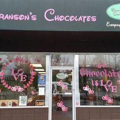 Got the windows painted for Valentines. #bransonschocolates #chocolate #valentine's #hearts #pink