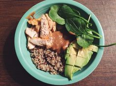 https://www.instagram.com/p/BPV-hEpB28U/  When you're so excited to have a #BuddahBowl for dinner that you forget to add the best part 😒🙄 I forgot to add the roasted onions and sweet potatoes but I ate them after this bowl 😋 so yummy and simple...quinoa, chicken, avocado, spinach and a homemade peanut dressing!! 🙌🏼 // miiaolsen MyRecipe byolsen BuiltByMe