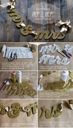 DIY Glitter Wedding Chair Sign
