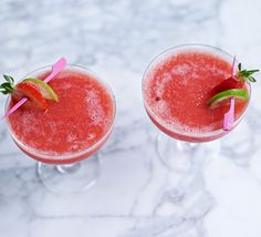 This slushy cocktail is best made when strawberries are in season and at their ripest. With just four ingredients you can whip up this thirst quencher in 10 minutes Frozen Strawberry Daiquiri, Frozen Strawberries, Popular Cocktail Recipes, Daiquiri Cocktail, Bbc Good Food Show, Cherry Bars, Frozen Cocktails, Fruity Cocktails, Bbc Good Food Recipes