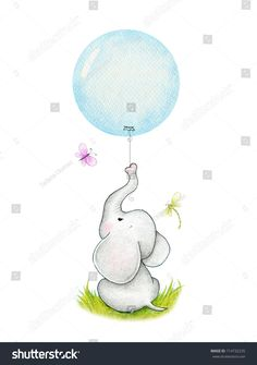 Cute elephant with blue balloon Baby Elephant Nursery, Elephant Quilt, Elephant Love, Elephant Applique, Elephant Illustration, Cute Illustration, Quilt Baby, Cute Elephant Drawing, Elephant Drawings
