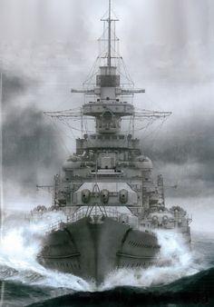 German battleship Gneisenau, also described as a battlecruiser.