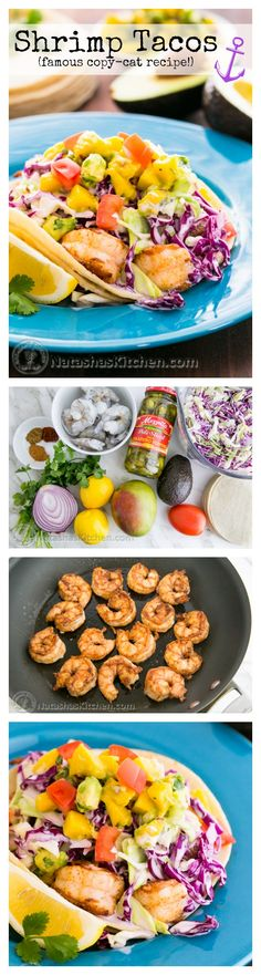 You have to try these! Shrimp Tacos with coconut coleslaw and mango avocado salsa. It's a delicious mouthful for sure! Copycat recipe for Coconut's Fish Cafe tacos in Maui. GF @natashaskitchen
