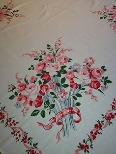"""Vintage Tablecloth White w/Bouquets Red Roses/Garlands/Ribbons  49"""" x 51"""""""