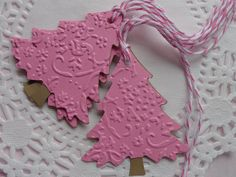5 Pink French Lace Embossed Tree Gift Tags  by SewPrettyInVermont $4.00