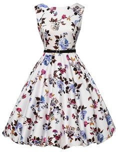 Cute Boatneck Sleeveless Vintage Tea Dress With Belt white 1