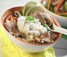 Spicy Ginger-Beef & Rice Soup with Lime