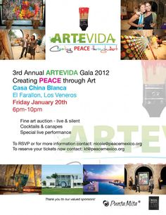 PEACE Mexico Announces 3rd Annual ArteVida Fundraising Gala, January 20, 2012