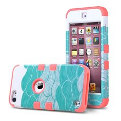 Amazon.com: ULAK Hybrid Hard Pattern with Silicon Case Cover for Apple iPod Touch 5 Generation (Sea Waves/Red): Cell Phones & Accessories