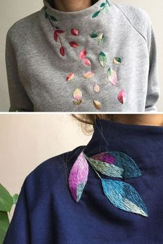 Hand Embroidered Clothing Adds Quirky Fun to Your Closet Basics  #handmade #crochet #knitting Silk Ribbon Embroidery, Sweater Embroidery, Embroidery On Clothes, Embroidered Clothes, Embroidery Fashion, Diy Embroidery Patch, Hand Embroidery Designs, Hand Embroidery Stitches, Knitting Stitches