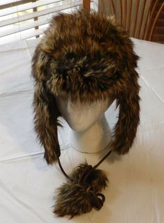 a91c8ada0 Claire s Youth Girls faux fur winter hat cap One Size brown black NWOT   Claires