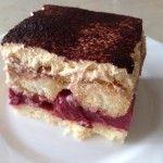 Meggyes mascarpone-s sütemény | mókuslekvár.hu Tiramisu, Cake, Ethnic Recipes, Food, Mascarpone, Kuchen, Essen, Meals, Tiramisu Cake