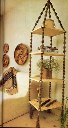 Hanging Shelf Macrame Pattern 6 Feet Tall Vintage Macrame Pattern Book Shelves J… Macrame Art, Macrame Projects, Diy Projects, Macrame Knots, Micro Macrame, Art Macramé, Hanging Shelves, Book Shelves, Corner Shelves