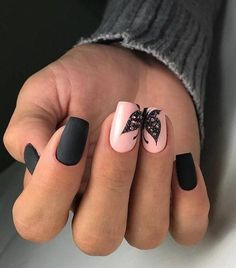 Nail Designs for Spring Winter Summer Fall. Butterfly Nail Art. Black Matte Nail Art. Pink Nail Art.