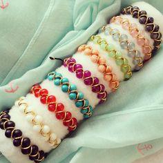 Jovia Colorful Charm Macrame Bracelets. White  by BerkBerkshire