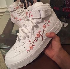 Floral embroidered White Nike Air Force Ones
