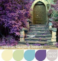 Here's another great way to use romantic purple without it feeling too cloying. Build your scheme on a slightly cool yellow, with heavy emphasis on sage green. Accent with medium turquoise and purple.