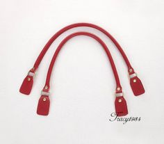 1 Pair 23 inch Synthetic Leather Purse Straps Red by tracy1984 6bd39252a618e