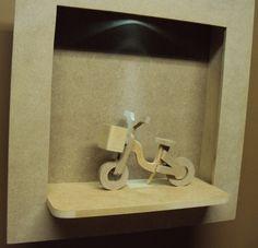Quadro com led com bicicleta decoração bebe porta maternidade Luartes Decoração.Nicho bebe,quadro nicho, nicho