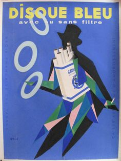 Description: Original artwork / maquette by Raoul Eric Castel. This working drawing of the poster for Disque Bleu Cigarettes shows a vertical crease through the center of the artwork top to bottom; mi