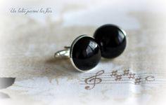 Boutons de manchette *Agate noire / Black agate* 18mm métal argenté : Bijoux pour hommes par unlutinparmilesfees