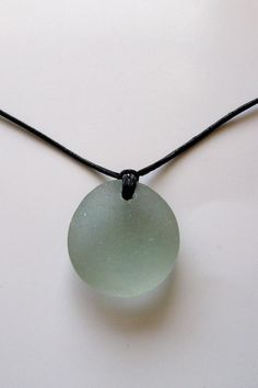 Full Moon Over the Ocean-Genuine Sea Glass Leather Necklace