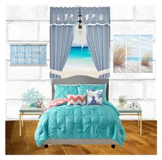 """""""My Coastal Room"""" by calibeachlyfe ❤ liked on Polyvore featuring interior, interiors, interior design, home, home decor, interior decorating, Tempaper, Serena & Lily, Croscill and Pigeon & Poodle"""