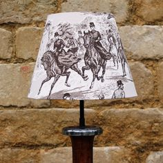 The Chase Horse & Hound Sepia Toile French Tapered Light Shade, stylishly sophisticated www.serendipityhomeinteriors.com