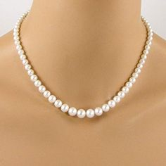 New Graduated Pearl Necklace, Classic Pearl Strand Necklace, White Pearl Necklace. Handmade [$140]youllfindoffer