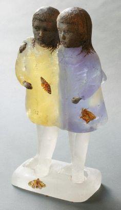 """Christina Bothwell ~ """"Twins"""" (2014) Cast glass, raku clay, oil paint 15.5 x 8 x 5 in. @ Habatat Galleries"""