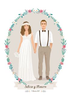 Wedding portrait Illustration Digital Illustration to por Retrocrix Wedding Illustration, Couple Illustration, Portrait Illustration, Digital Illustration, Wedding Logos, Wedding Art, Wedding Card Design Indian, Wedding Invatations, Illustrated Wedding Invitations