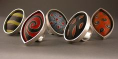 Rings | Susan Remnant. Sterling, copper and enamel.