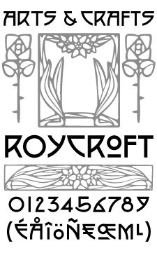 Produced in association with The Burchfield-Penney Art Center (Buffalo, New York), the Arts and Crafts font set derives from Roycroft books and periodicals designed by multi-faceted artist; Dard Hunter in the early 1900s.