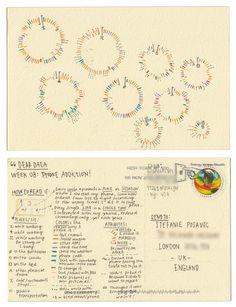 Dear-Data (www.dear-data.com)  Week 08 - A week of Phone Addiction postcard by Giorgia