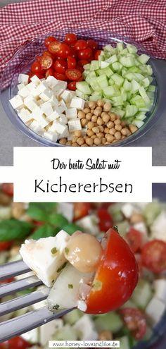 Der beste Kichererbsen-Salat mit Tomate und Feta! #KichererbsenSalat #Fetasalat Veggie Food, Veggie Recipes, Feta Salat, Easy Peasy, Cobb Salad, Potato Salad, Good Food, Veggies, Potatoes