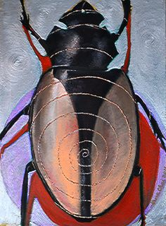 I have noticed that each beetle contains all the secrets and beauty of nature. They are part of the Cosmos like all living creatures. Call it Elohim, Holy Spirit, Allah. Call it whatever you wish. The spiral represents the connection of each bug to the Universe.