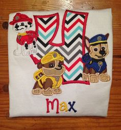 Paw Patrol Inspired Birthday Shirt with Multiple by TheAHaShop